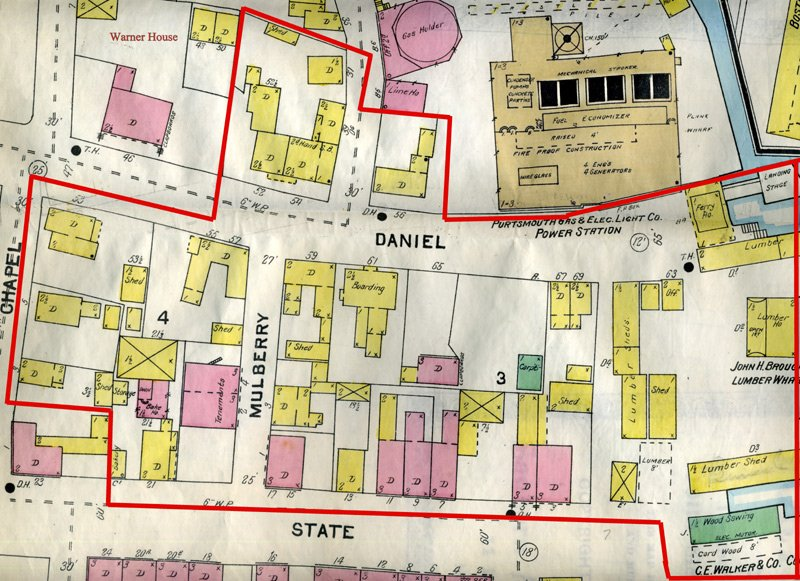 Detail of 1904 Sanborn Map of Portsmouth, NH. The red line indicates the area of the neighborhood that was demolished either through the construction of the Memorial Bridge in the 1920s or by other building projects.  (Image courtesy of the Portsmouth Athenaeum.)
