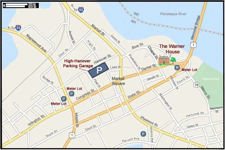 Driving Map from I95 to the Portsmouth Parking Garage and to the Warner House